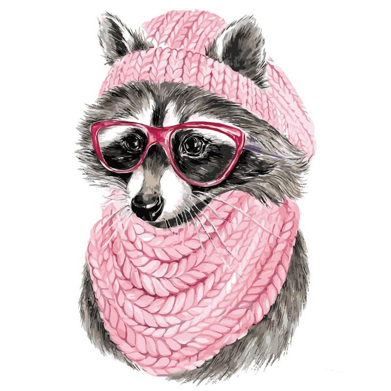 Ζωγραφιστέ με Αριθμούς kit Raccoon με Γυαλιά 30cm X 40cm