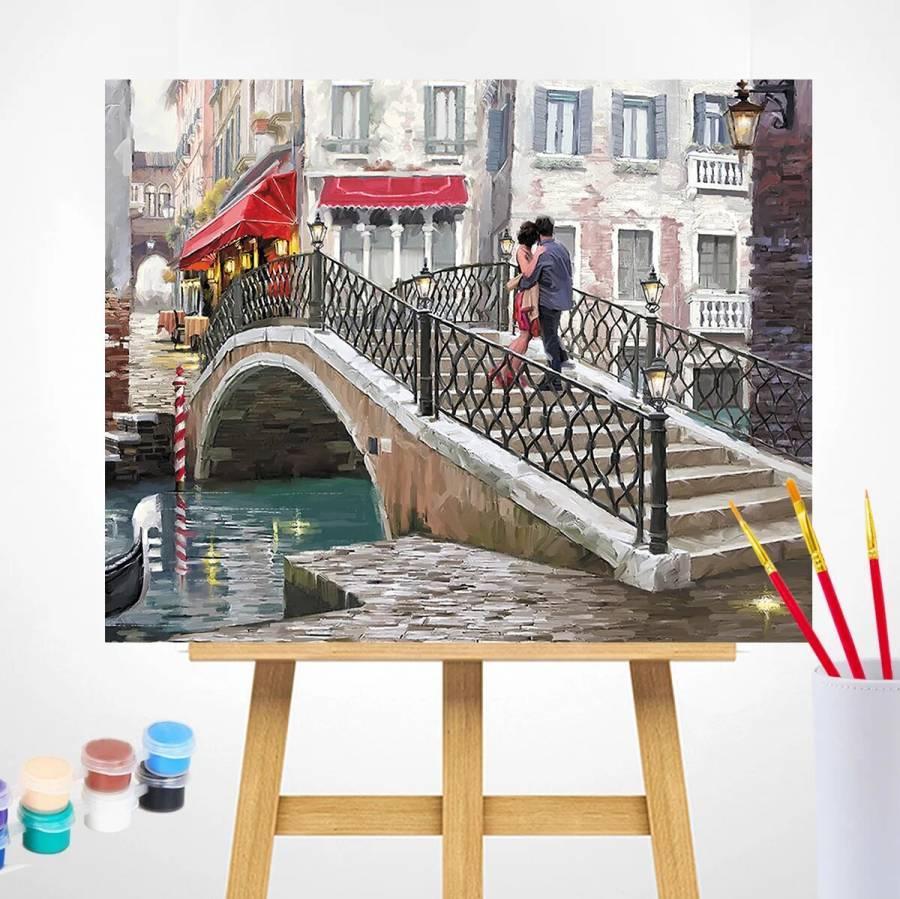 Ζωγραφιστέ με Αριθμούς kit Ρομαντική Γέφυρα 40cm X 50cm