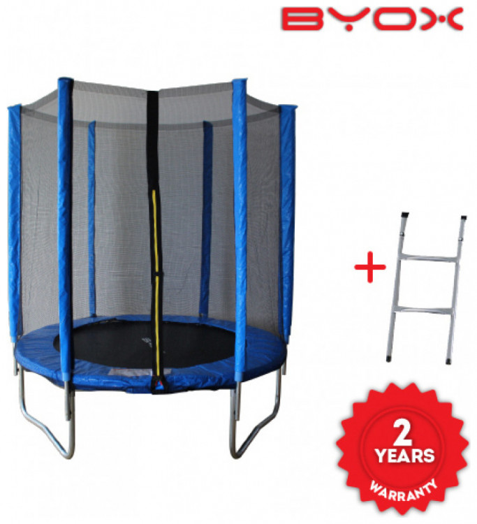 Byox Τραμπολίνο υψηλης αντοχης με διάμετρο 183εκ. με Διχτυ και Σκάλα
