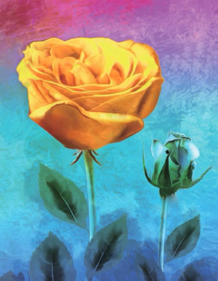 Κατασκευή Ψηφιδωτού kit Κίτρινο Τριαντάφυλλο 40cm X 50cm