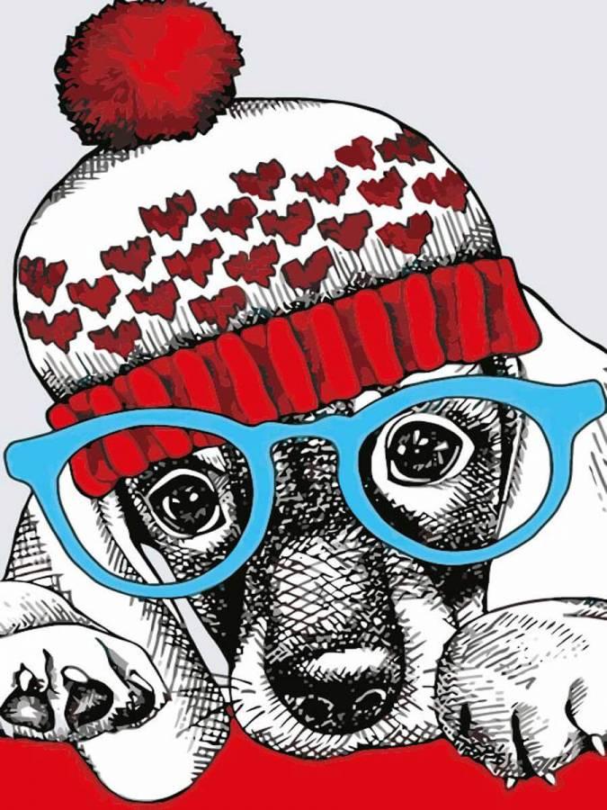 Ζωγραφιστέ με Αριθμούς kit Μοδάτο Σκυλάκι 20cm X 30cm