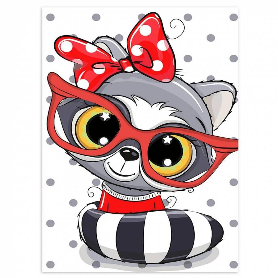 Ζωγραφιστέ με Αριθμούς kit Baby Raccoon 20cm X 30cm