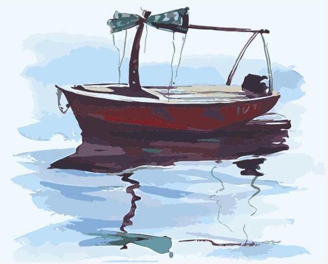 Ζωγραφιστέ με Αριθμούς kit Βαρκούλα σε ήρεμα Νερά 40cm X 50cm