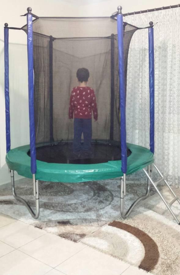 Asda Jumpking Τραμπολινο 1,83m με διχτυ ασφαλειας με Σκαλα,Πρασινο Χρωμα